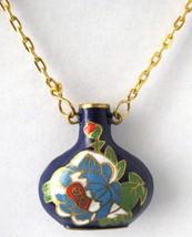 Blue Cloisonne Peony Pendant Necklace Hollow Bottle Vintage Attached Gol... - $30.00