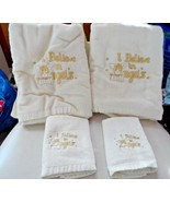 """set of 2 off white face cloths & 2 bath towels embroidered """"I believe in... - $18.50"""