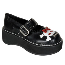 "DEMONIA Emily-221 2"" P/F Platform Shoes - Black Vegan Leather - $53.95"