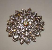 Signed Lc Liz Claiborne Vtg Flower Brooch Pin Clear Rhinestone Snowflake - $9.99