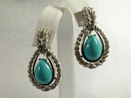 AVON Faux TURQUOISE Tear Drop Clip Earrings FROSTY SILVER Plated ROPE Vintage image 2