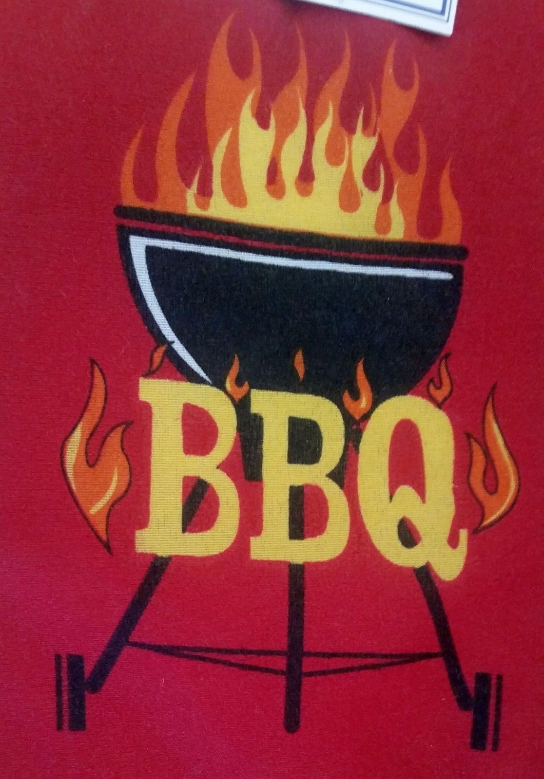 """Fabric Printed 12"""" Oven Mitt, BBQ GRILL on RED, with gray back by AM"""