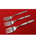 3 Salad Forks Lisbon by Oneida Distinction Stainless Flatware Black Acce... - $17.81