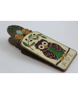 Vintage AOE Alpha Theta Epsilon Brass Enamel Owl Paper Clip - $34.65