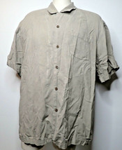 VTG Tommy Bahama Shirt  Sz XL 100% Silk Gray Tropical Palm Tree Hawaiian Camp - $18.80