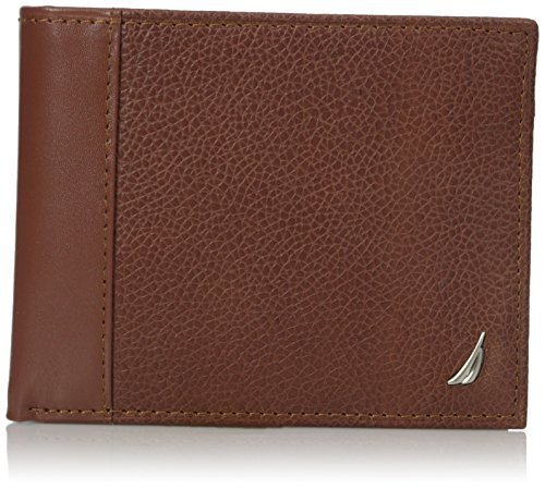 Nautica Men's Nautica Men's Milled Leather Passcase Wallet, Tan, One Size