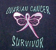 Ovarian Cancer Hoodie 3XL Teal Ribbon Survivor Butterfly Navy Blue Sweat... - $33.29