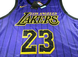 LEBRON JAMES / AUTOGRAPHED LOS ANGELES LAKERS PRO STYLE BASKETBALL JERSEY / COA image 2
