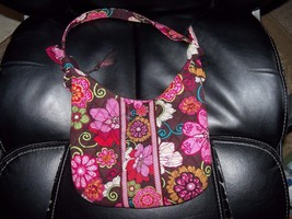 VERA BRADLEY OLIVIA  PURSE HANDBAG,RETIRED 2009 MOD FLORAL PINK, BROWN EUC - $33.60