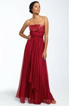 ABS by Allen Schwartz Sequined Strapless Gown Sz 12 - Wine - $122.40