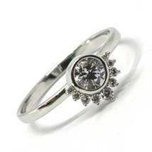 SOLID 18K WHITE GOLD RING, SUN, CROWN, EYE, CUBIC ZIRCONIA, MADE IN ITALY image 2