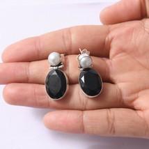 Handmade 925 Solid Sterling Silver Jewelry Black Onyx Pearl Dangle Earring - $15.35