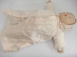 "Vintage Vinyl Baby Doll Crier Stuffed Cloth Body 17"" Molded Hair Blue Eyes - $34.84"
