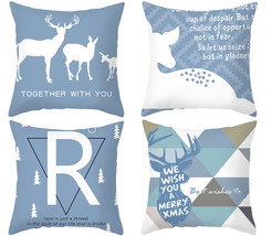 Xmas pillow cover,blue deer throw pillowcase,decor cushion cover,18×18,h... - $31.99
