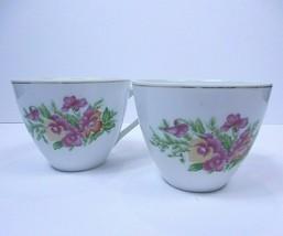 Set 2 - Nippon Yoko Boeki Japan Tea Cups Porcelain Pink Flowers Gold Trim - $13.66