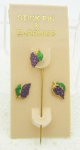 VTG Gold Tone Purple Green Enamel Grape Stick Pin Earring Set - $19.80