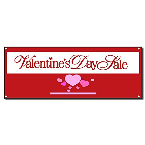 Valentines Day Sale Red Vinyl Banner Sign w/Grommets 2 ft x 4 ft