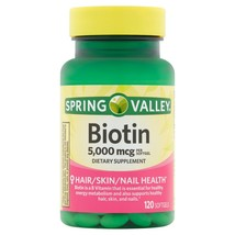 120 Biotin 5000 mcg Spring Valley Skin, Nail and Hair Support Soft Gels 11/2022+ - $14.84