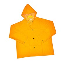 "New Men's Heavy Duty 35MM PVC over Polyester Hooded Rain Coat 32"" length... - $11.60"