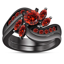 Promise Bridal Engagement Ring Set Red Garnet Black Gold Finish Pure 925... - $99.96