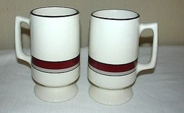 Heavy Pedestal Coffee Mug Buffalo China White w/ Red & Tan Stripes Tea Cup  - $29.69