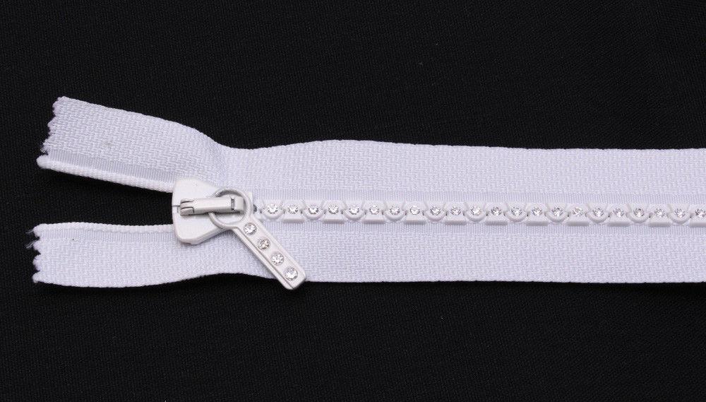 "18"" Separating Zipper - White - Small Rhinestone Swarovski® Crystals U001.16 - $32.95"