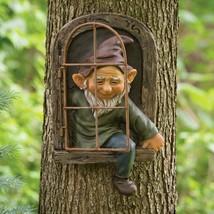 Emerging Elf Tree Hugger, Garden Peeker Yard Art Whimsical Tree Decoration - $58.00