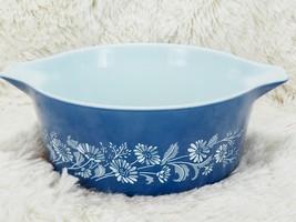 Vintage Pyrex Colonial Mist 475B Casserole Bowl Dish NO Lid 2 1/2 Qt Blue Floral - $38.61
