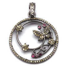 Genuine Ruby Gemstone Designer Pendant Diamond Pave Solid .925 Sterling Silver - $167.31
