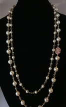 Long Pearl Necklace with Crystal Pink Pendent, Grey Bead in Gold - $61.00