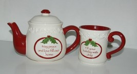 Bella Casa by Ganz Christmas Teapot mug Set White Dark Red - $35.75