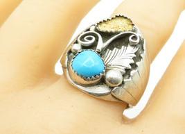 NAVAJO 925 Silver - Vintage Turquoise Floral Leaf Cocktail Ring Sz 11 - ... - $43.57