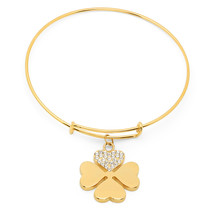 PIATELLA Ladies 18K Gold Plated Clover bracelet adorned with Swarovski C... - $14.99