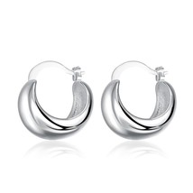 Women Fashion Silver Ear Trendy Simple Earrings Wedding Engagement Jewelry - $9.79