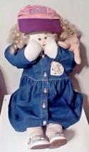 Handmade Country Doll Blonde Curls UK Kentucky Ball Fan With Pink Ball Cap - $39.60