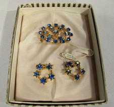 Vintage Austrian Blue Chaton Rhinestone Brooch / Pin & Clip-on Earrings - $44.55