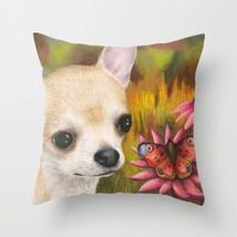 Throw Pillow Case Cushion cover Made USA Dog 85 Chihuahua butterfly art L.Dumas - $29.99+