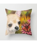 Throw Pillow Case Cushion cover Made USA Dog 85 Chihuahua butterfly art ... - $29.99+