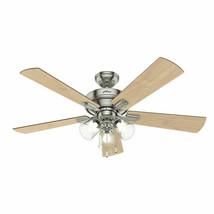 """Hunter 54206 Crestfield Indoor Ceiling Fan 52"""" 5 Blade 3 LED Brushed Nickel - $167.31"""