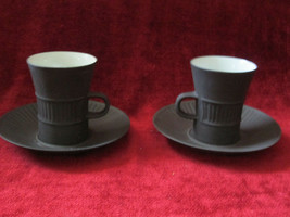 Dansk Flamestone Fluted Denmark set of 2 cups and saucers - $23.71