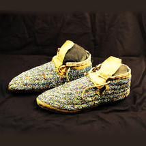 "Antique Native American Intricately Beaded Moccasins 9"" Long Cheyenne ci... - $989.00"
