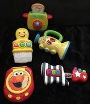 Lot 5 baby toys Fisher Price Paintbrush Toaster Jack in Box Sassy Guitar... - $9.89