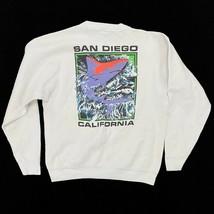 Vintage San Diego Whale Sweatshirt Tag Size XL White Multi Sea World Cal... - $34.99