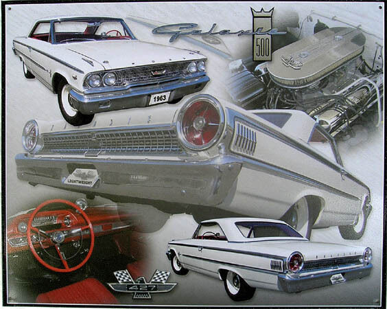 Ford '63 Galaxy Collage Metal Sign