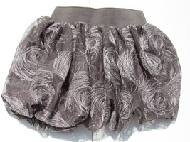 The Children's Place Girls Sz 4 Bubble Skirt Gray Silver Floral Elastic ... - £11.02 GBP