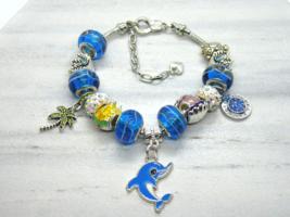 Dolphin European Murano Beaded Bracelet. Gift bag included - $19.95