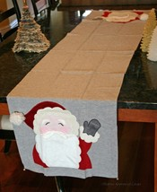 POTTERY BARN KIDS SANTA TABLE RUNNER (GRAY) -NWT- HOLIDAY CHEER FROM END... - $27.47