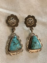 Vintage Native American Sterling Silver Turquoise Concho Drop Dangle Ear... - £154.30 GBP