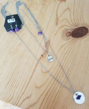 776 SILVER W/PURPLE BEADS & LOVE SIGN SET (new) - $7.61