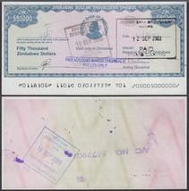 Zimbabwe 50,000 (50000) Dollars, 2003, P-19, USED, Cheque Amount Field - $5.89